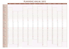 Annual planner 2015 spanish. 2015 Annual planner. Spanish calendar for year 2015. Week starts on Monday Stock Photography