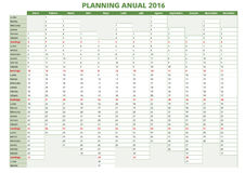 Annual planner spanish 2016.indd. 2016 Annual planner. Spanish calendar for year 2016. Week starts on Monday stock illustration
