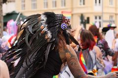 The annual Pride Parade LGBT. Impressions from gay and lesbians participating in the Gay Pride Parade with rainbow colors and flag stock photo