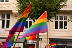 The annual Pride Parade LGBT. Impressions from gay and lesbians participating in the Gay Pride Parade with rainbow colors and flag royalty free stock photo
