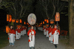 The annual procession to Jesus Christ at Easter in Mendrisio. Mendrisio, Switzerland - 18 april 2003: people carrying lanterns during the annual procession to Stock Photography