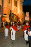The annual procession to Jesus Christ at Easter in Mendrisio. Mendrisio, Switzerland - 18 april 2003: people carrying lanterns during the annual procession to Stock Images