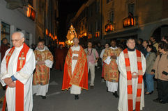 The annual procession to Jesus Christ at Easter in Mendrisio. Mendrisio, Switzerland - 18 april 2003: people carrying lanterns during the annual procession to Royalty Free Stock Photo
