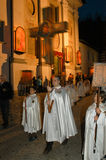 The annual procession to Jesus Christ at Easter in Mendrisio. Mendrisio, Switzerland - 18 april 2003: people carrying lanterns during the annual procession to Royalty Free Stock Photos