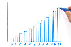 Annual profit bar chart Stock Photography