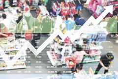 The annual promotion price reduction can makes better sale.Busin. Ess financial stock market data index on shopping of many people show good sign in overall Stock Image