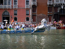 The Annual Regatta down the Grand Canal in Venice Italy Stock Images