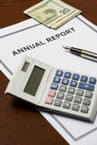 Annual Report. Image of an annual company report on an office table royalty free stock images