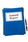 Annual Report. Business Annual Report and pen with white background stock photos