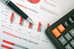 Annual report. Business pen and calculator over annual report Royalty Free Stock Photos