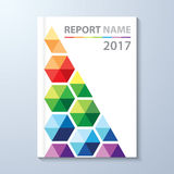 Annual Report 2017. Abstract colorful hexagon background. Cover design template layout in A4 size for annual report, brochure, flyer,  illustration Stock Photography