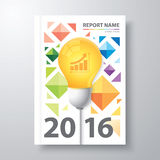 Annual report 2016. Abstract colorful low polygon background with light bulb. Cover design template layout in A4 size for annual report, poster, brochure, flyer royalty free illustration