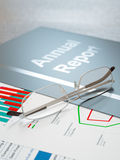 Annual Report. Black annual report folder with graphs and charts close-up Stock Image