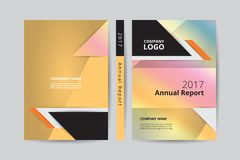 A4 Annual report 2017 book design front and back gold cover template. Annual report 2017 book design front and back pastel cover template, rainbow gradient theme vector illustration