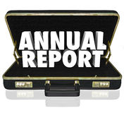 Annual Report Briefcase Words Financial Statement Royalty Free Stock Photo