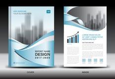 Annual report brochure flyer template, Blue cover design stock illustration