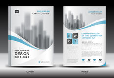 Annual report brochure flyer template, Blue cover design Stock Photography
