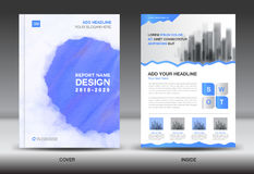 Annual report brochure flyer template, Blue cover Royalty Free Stock Photography