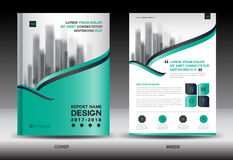Annual report brochure flyer template, Green cover design Stock Photography