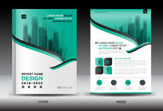 Annual report brochure flyer template, Green cover design Royalty Free Stock Photos