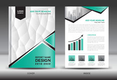 Annual report brochure flyer template, Green cover design Stock Photos