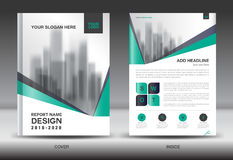 Annual report brochure flyer template, Green cover design Royalty Free Stock Photography