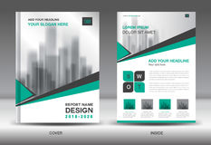 Annual report brochure flyer template, Green cover design Royalty Free Stock Image