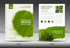 Annual report brochure flyer template, Green cover design Stock Photo