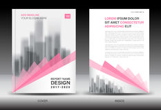 Annual report brochure flyer template, Pink cover design vector illustration