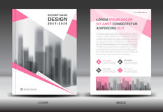 Annual report brochure flyer template, Pink cover design royalty free illustration