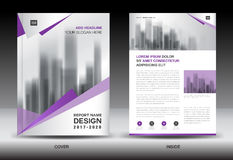 Annual report brochure flyer template, Purple cover design Royalty Free Stock Images