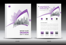 Annual report brochure flyer template, Purple cover design Royalty Free Stock Photo