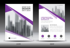 Annual report brochure flyer template, Purple cover design Royalty Free Stock Image