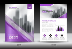 Annual report brochure flyer template, Purple cover design Royalty Free Stock Photography