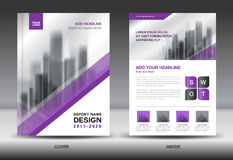 Annual report brochure flyer template, Purple cover design Stock Photography