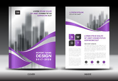 Annual report brochure flyer template, Purple cover design Stock Image