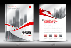 Annual report brochure flyer template, Red cover design, busines Royalty Free Stock Image