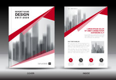 Annual report brochure flyer template, Red cover design Stock Photos