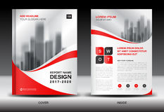 Annual report brochure flyer template, Red cover design. Business, book, magazine ads, booklet,catalog vector illustration