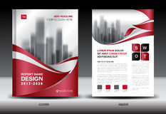 Annual report brochure flyer template, red cover design Royalty Free Stock Image