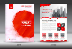 Annual report brochure flyer template, red cover design Stock Images