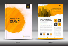 Annual report brochure flyer template, Yellow cover design Stock Images