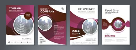 Annual report brochure. Purple presentation template set for business annual report, corporate marketing, corporate report, creative flyer and leaflet vector illustration