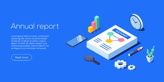 Annual report for business analysis. Isometric vector illustration. Data analytics for company marketing solutions or financial p vector illustration