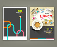 Annual report 2016 cover desk artist idea concepts. With paintbrush, pencil, coffee cup, flat design background,  illustration Royalty Free Stock Images