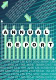 Annual report cover with graph and cifer group on abstract green and blue striped background. Modern Vector abstract brochure, rep Royalty Free Stock Photography