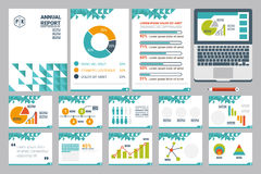 Annual report cover A4 sheet and presentation template. Illustration of annual report cover A4 sheet and presentation template with flat design icons elements Royalty Free Stock Images
