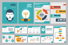 Annual report cover A4 sheet and presentation template Stock Images