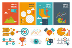 Annual report cover A4 sheet template and flat design icons elem Stock Images