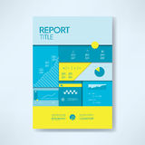 Annual report cover template with business icons and elements. Pie chart, graphs, infographics layout. Royalty Free Stock Photo